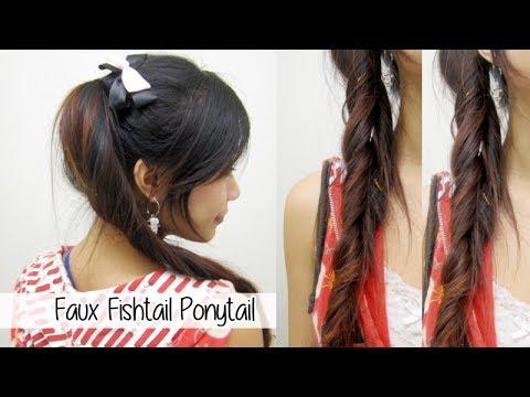 fun-cute-ponytail-l-quick-&-easy-faux-fishtail-braid