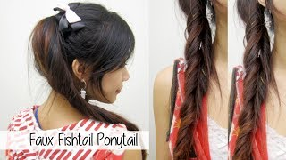 Fun Cute Ponytail l Quick & Easy Faux Fishtail Braid