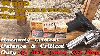 Wood Penetration Test- Hornady Critical Defense & Critical Duty- .45 ACP, .9mm, .357 Mag