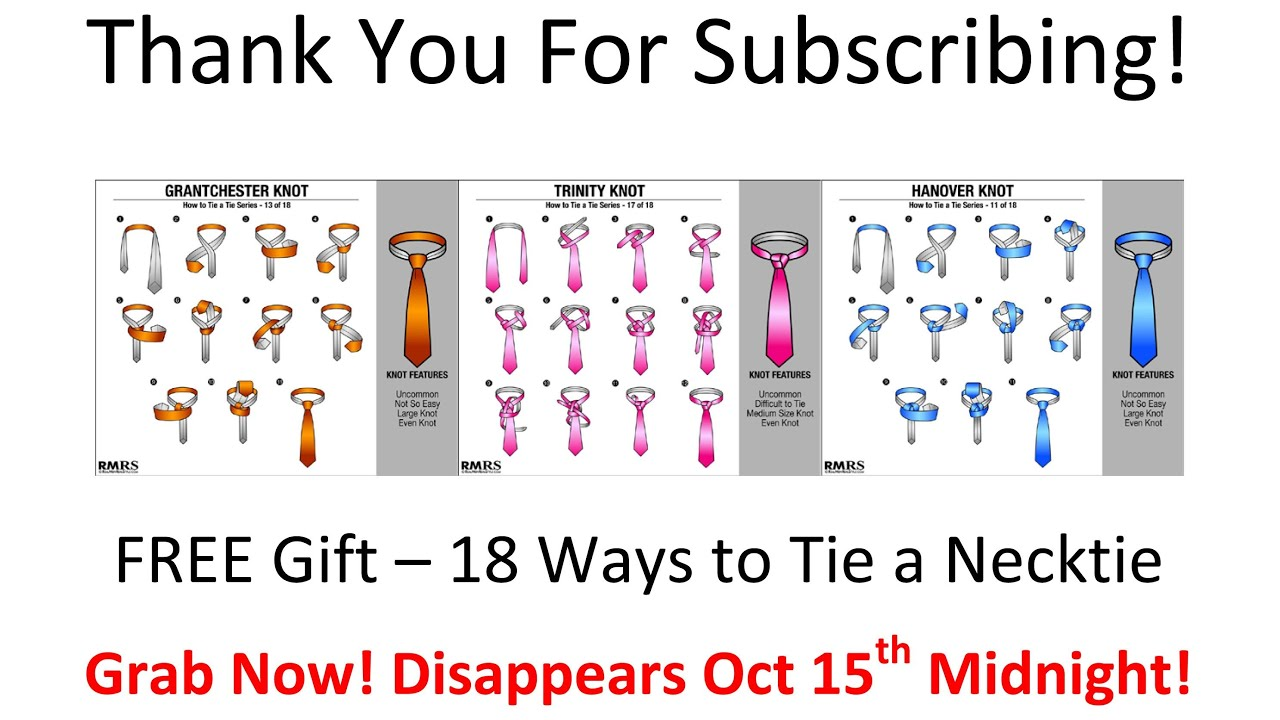 OFFER CLOSED – 18 Ways To Tie A Necktie – Thank You Gift To ...