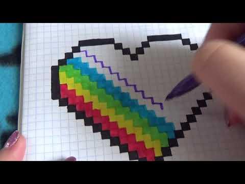 Pixel art spalvota širdelė