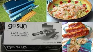 GoSun Sport solar stove ~ Shrimp Scampi, pizza and a peach crumble