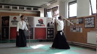 13  jo kata partner practise 2 jo -ken ( staff vs boken) [TUTORIAL] Aikido advanced weapon technique