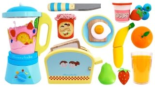 Toy Toaster Playset Breakfast Learn Colors & Fruits with Wooden Velcro Toys & Play Doh for Kids RL