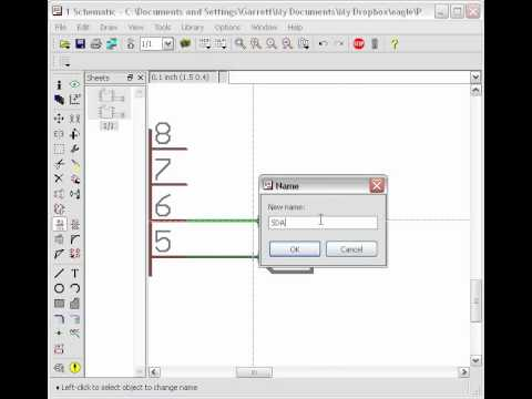 Naming and labeling net stubs in Cadsoft Eagle - YouTube