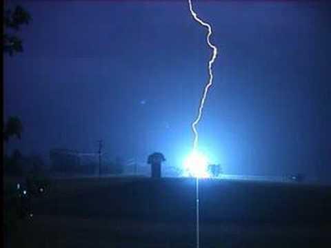 lightning striking power pole youtube