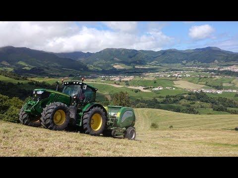 Azores Grass Raking Baling and Wrapping - John Deere 6155R,6420,6220 - 4K