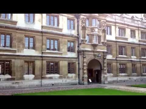 The courtyard at Clare College, Cambridge University, Cambridge, England.