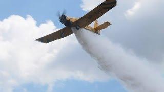 Gaszenie samolotem pożaru lasu w Radziwiu (nagranie z daleka)