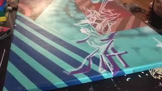 Graffiti wild style bevel canvas time lapse