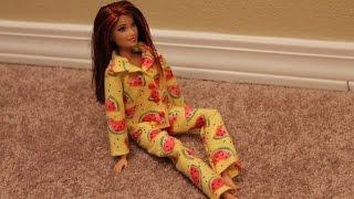 одежда для куклы Барби. Как сшить пижаму (рубашка) \ How to make pajamas for Barbie dolls, part 2