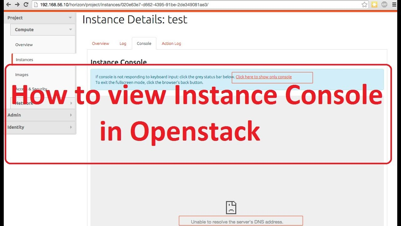 How to access instance console in openstack (centos linux,redhat linux)