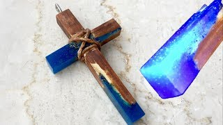 Kreuz aus Holz und Epoxidharz bauen - DIY