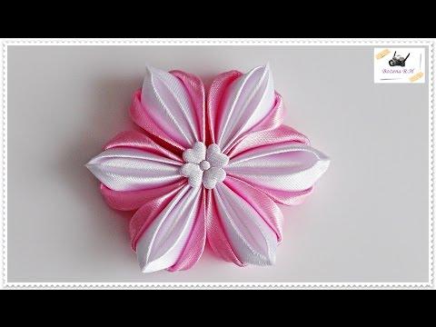Kwiat Ze Wstazki Kanzashi Jak Wykonac Krok Po Kroku 82 Youtube