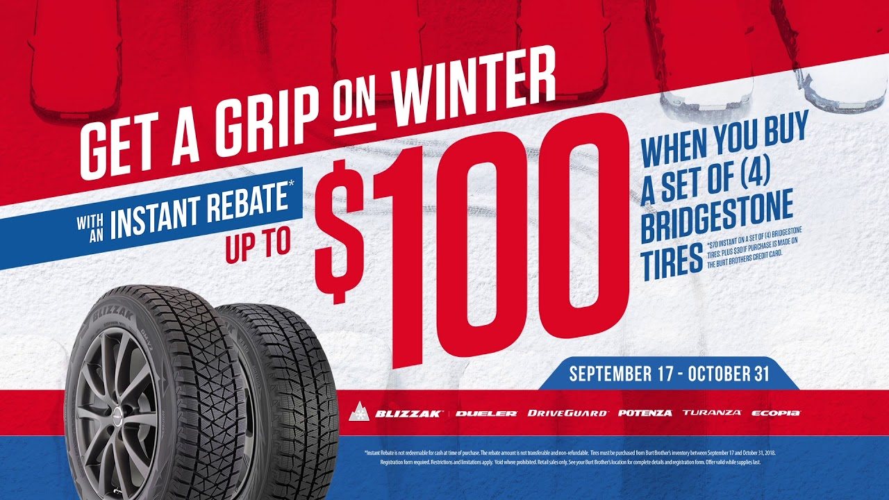 Burt Brothers Get A Grip Of Winter 100 Blizzak Tire Sale Youtube