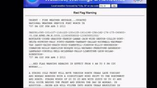 Red Flag Weather Warning US  - Fire. Severe Thunderstorms  04/04/2011