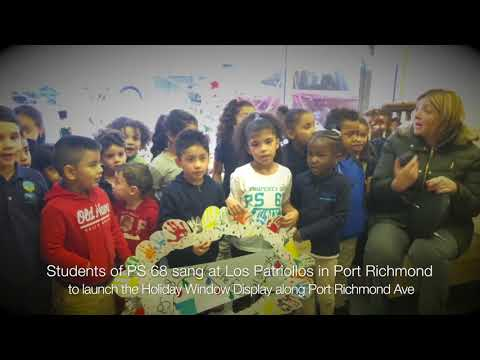 PS 68 students sing at Holiday Window Display relaunch in Port Richmond