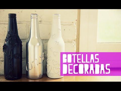 Como Decorar Botellas De Vidrio Con Silicona