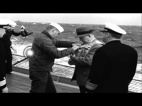 United States Secretary of Navy Charles Thomas aboard United States ship Benningt...HD Stock Footage