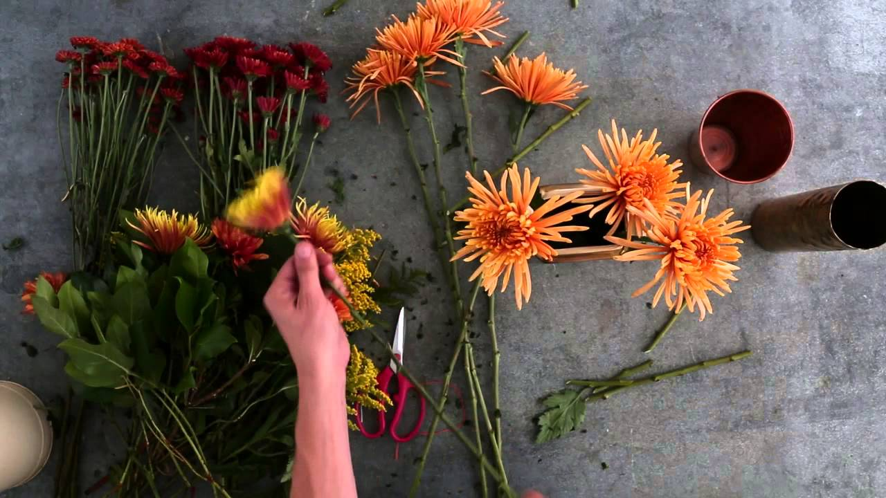 Make your own autumn flower arrangement youtube for Create your own flower arrangement