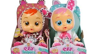 Cry Babies Lea and Coney Dolls Unboxing Toy Review Doll Cries REAL Tears