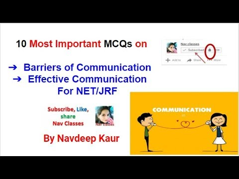NET/ JRF 10 MCQs Barriers of Communication Effective Communication