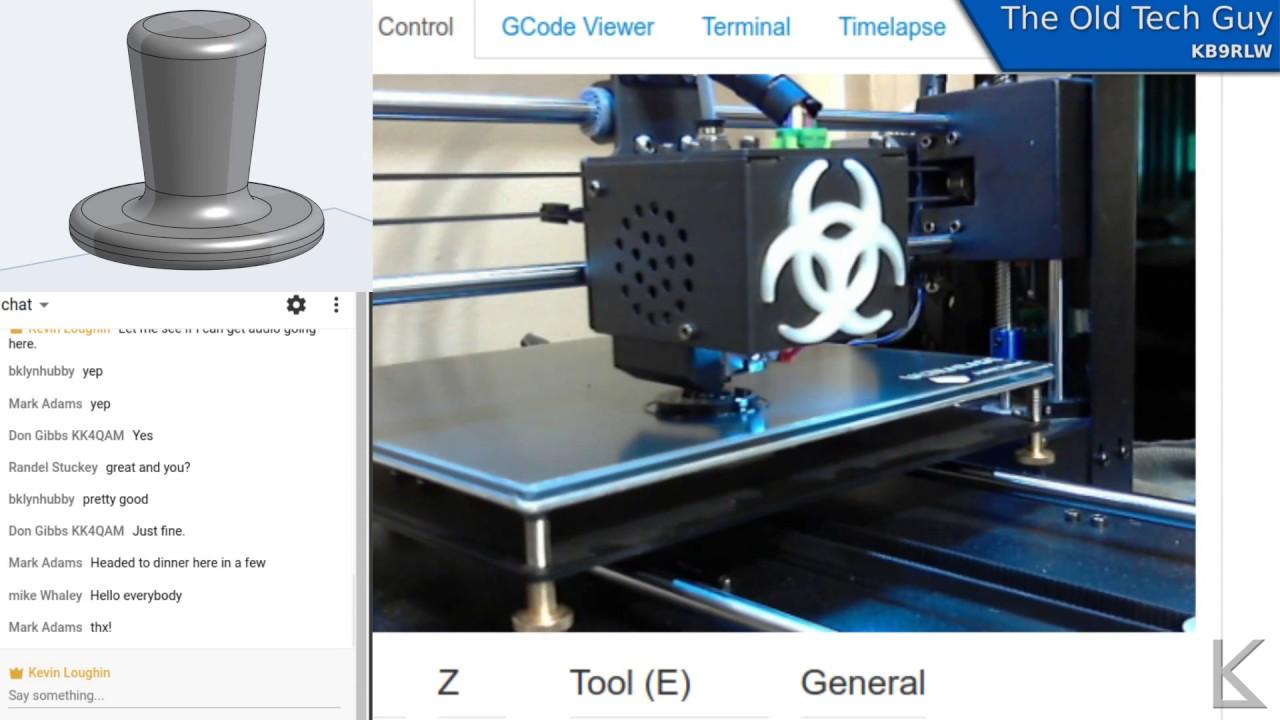 Live Stream Archive - Printing Ed's custom J38 knob  Audio starts 11 min   in