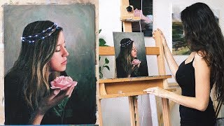 Oil Painting Portrait Time Lapse | Fairy Lights