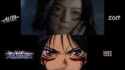 Alita: Battle Angel (2019/1993) side-by-side comparison