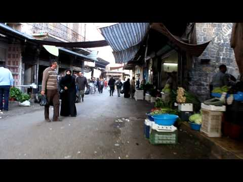 Walking through the souk in Homs, Syria