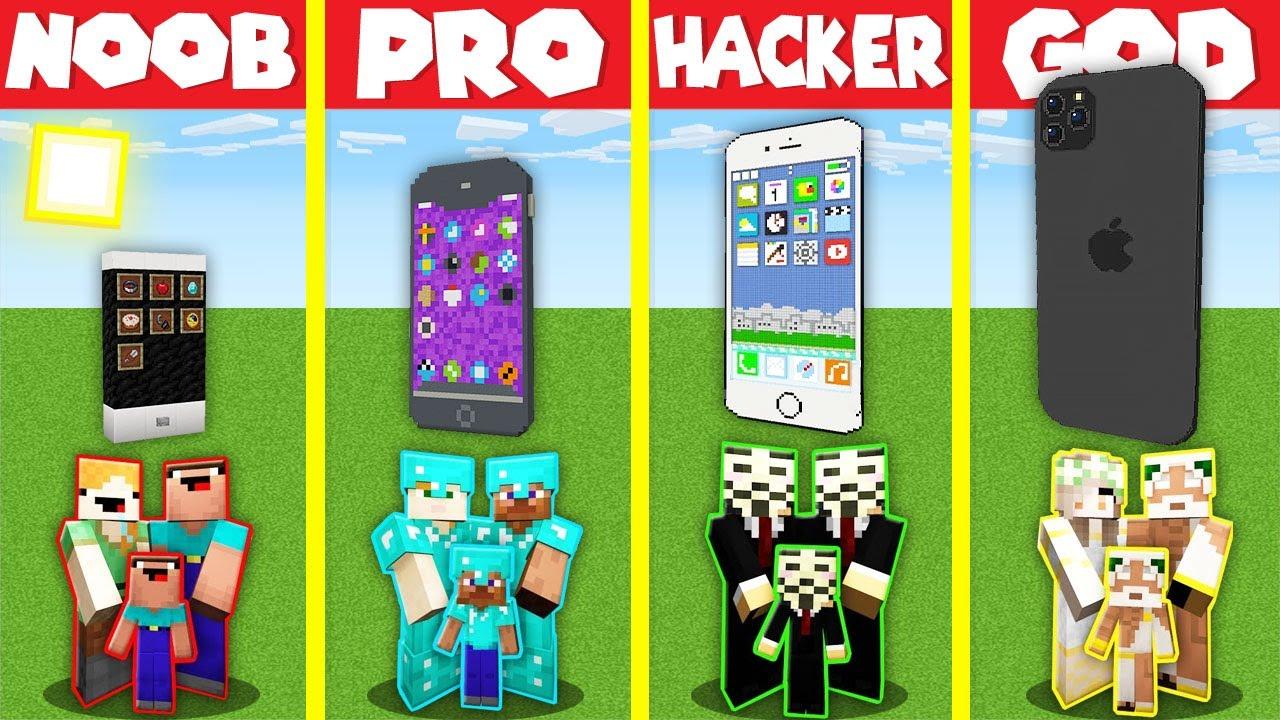 Download Minecraft Battle: INSIDE IPHONE BASE HOUSE BUILD CHALLENGE - NOOB vs PRO vs HACKER vs GOD Animation