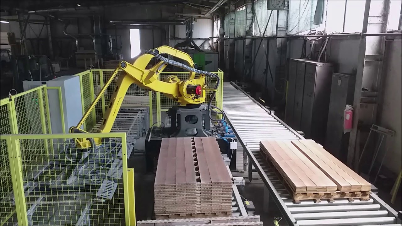 Robotic Palletising of Wooden Lamellas/Veneers and Wooden Sticks