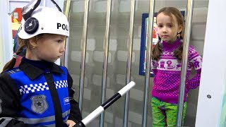 Ulya Pretend Play a Sidewalk Cop | Best Funny Stories with Police for kids