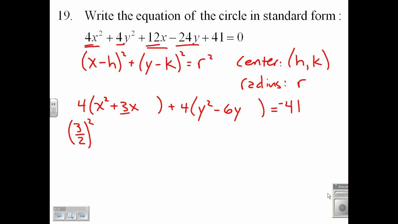 Write the Equation of a Circle in Standard Form 9.1.19 - YouTube