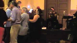 Old time Contra Dance in Massachusetts USA Smoke & Mirrors fiddles dulcimer