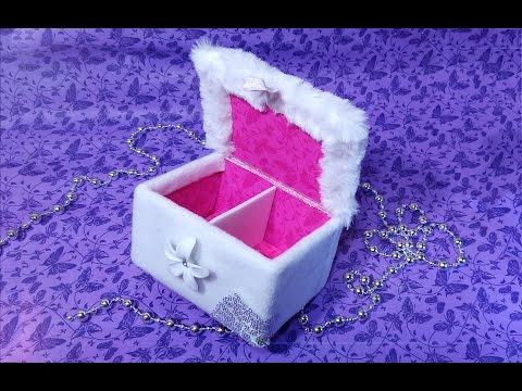 Easy DIY jewelry box with false bottom.  DIY makeup organizer. Last minute gift.