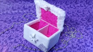 Make-up organizer! Jewelry box made of corrugated cardboard and fabric. Recycled Cardboard. It