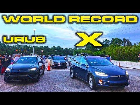 WORLD RECORD REMATCH - 2019 Tesla Model X Raven Ludicrous Vs Lamborghini Urus 1/4 Mile Drag Racing