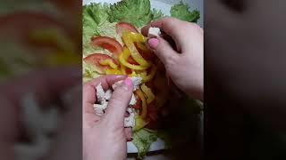 Легкий вкусный салат ( похож на цезарь)