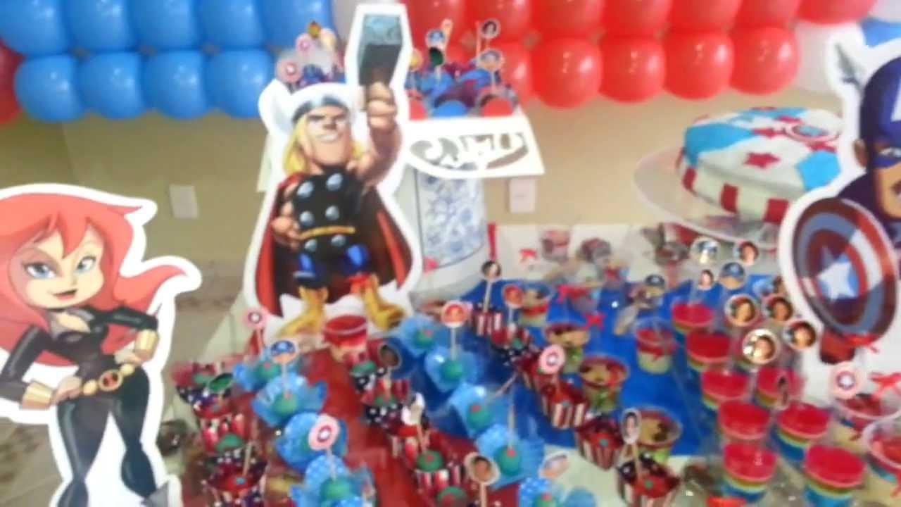 Decoraç u00e3o OS VINGADORES YouTube # Decoração De Festa Os Vingadores