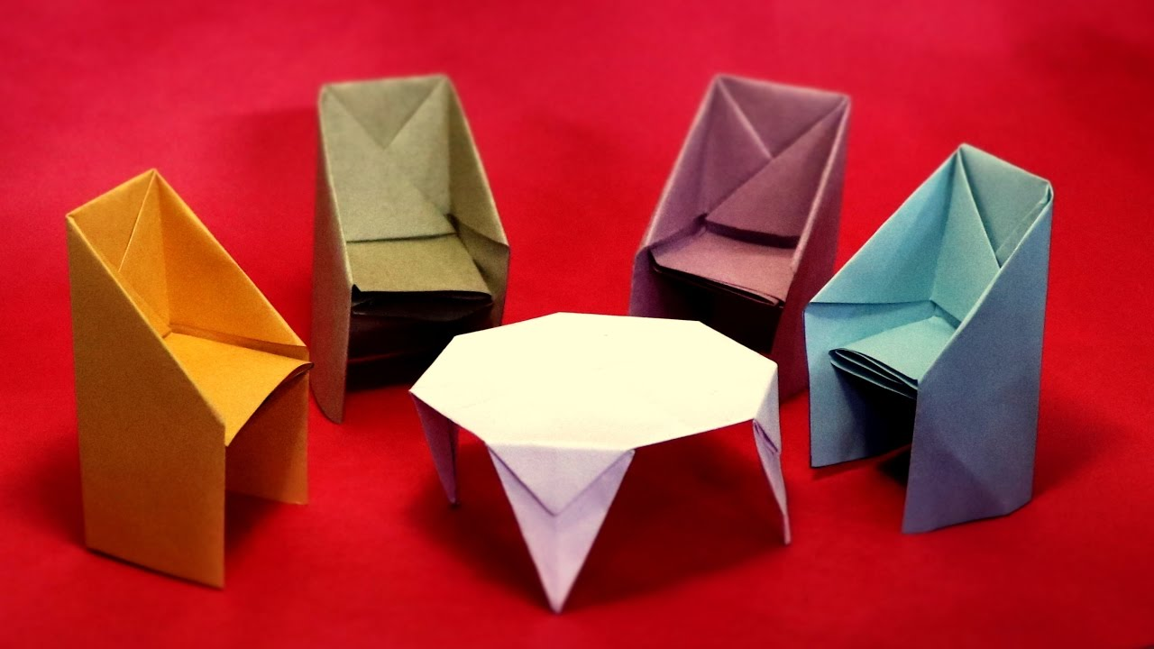 How To Make Table And Chairs With Paper Crafts Easy