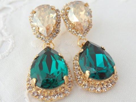 Gemstone Stone Earrings Designs Single Artificial Beaded