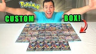 *MASSIVE POKEMON CARDS BOOSTER BOX!* Opening CUSTOM Pokemon Box With RARE Packs!