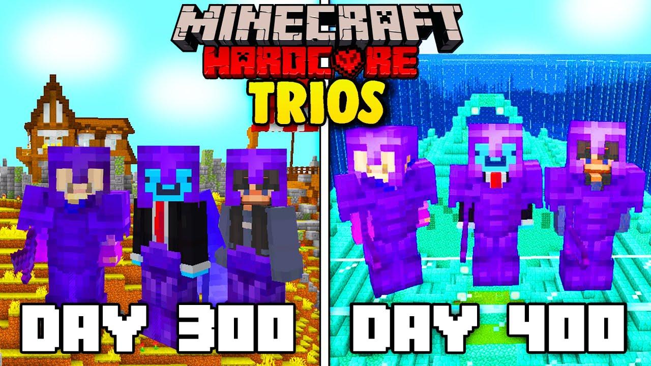 We survived 400 Days In Hardcore Minecraft - TRIO Minecraft Hardcore 400 Days