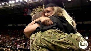 Navy Dad Surprises Daughter at Graduation