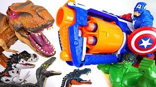 Too many dinosaurs appeared in Tayo town! Marvel Hulk, Iron Man's Nerf gun fire! - DuDuPopTOY