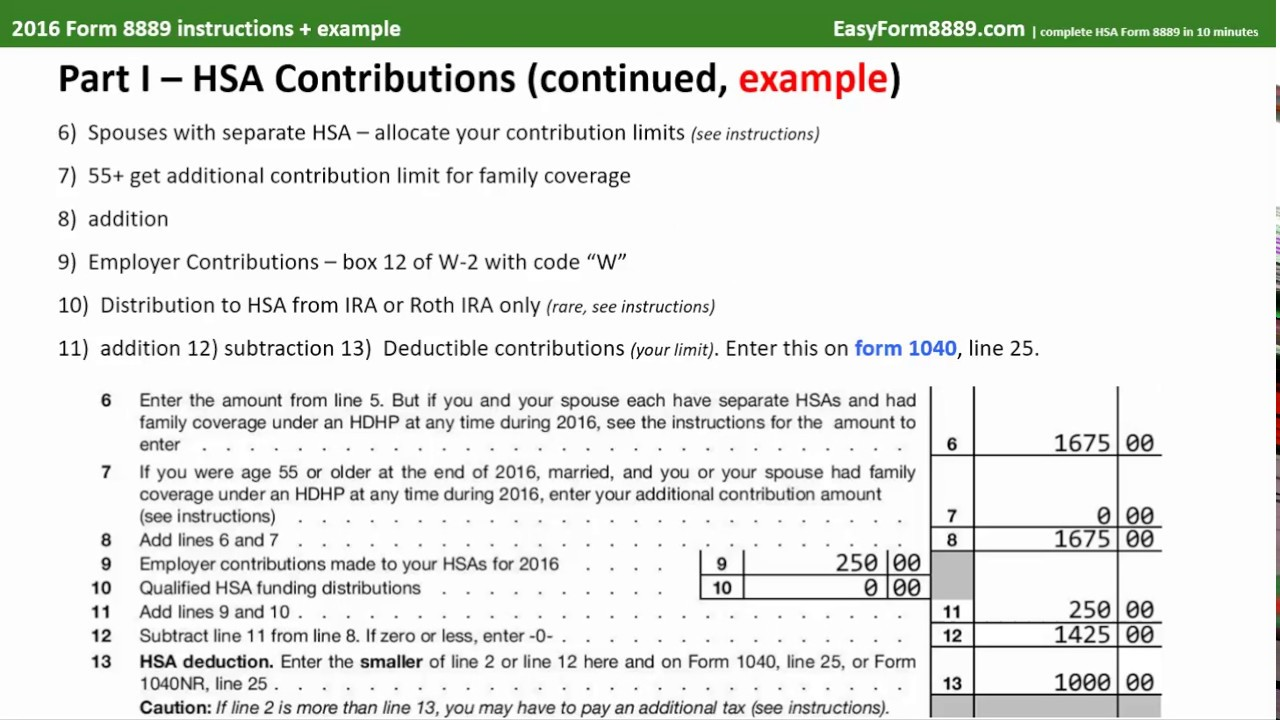 2016 hsa form 8889 instructions and example youtube 2016 hsa form 8889 instructions and example falaconquin