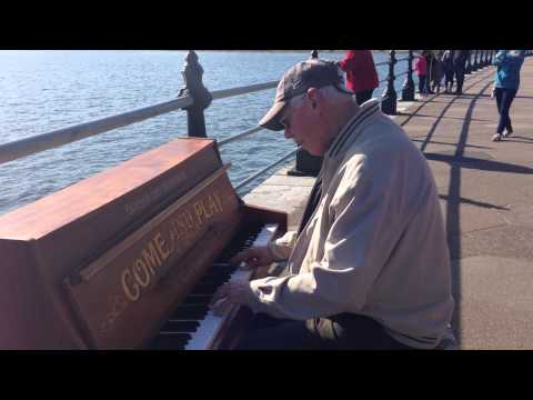 Piano For A Day - Amazing gentleman playing 'Mess Around' by Ray Charles by Torquay Harbour