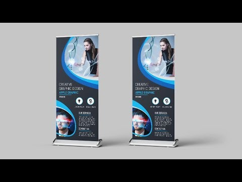 Scientific Roll Up Banner Design - Photoshop CC 2019 Tutorial