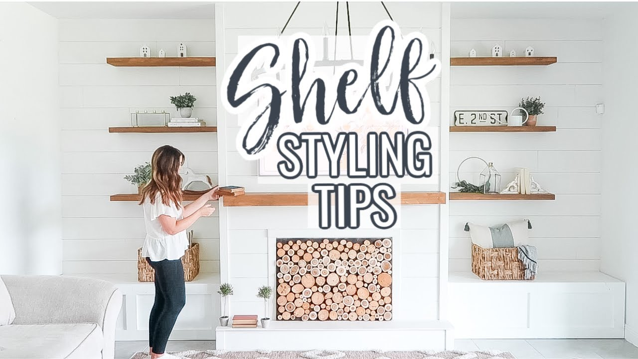 HOW TO STYLE OPEN SHELVES IN LIVING ROOM  SHELF STYLING TIPS  FARMHOUSE  DECOR